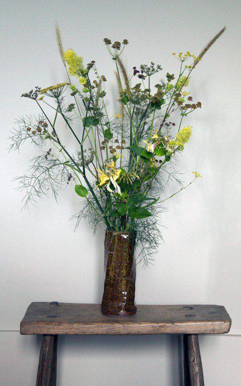 A posy containing bronze fennel, Bupleurum falcatum, Bupleurum longifolium 'Bronze Beauty', Lonicera periclymenum 'Graham Thomas', Thalictrum flavum ssp. glaucum & Hordeum bulbosum