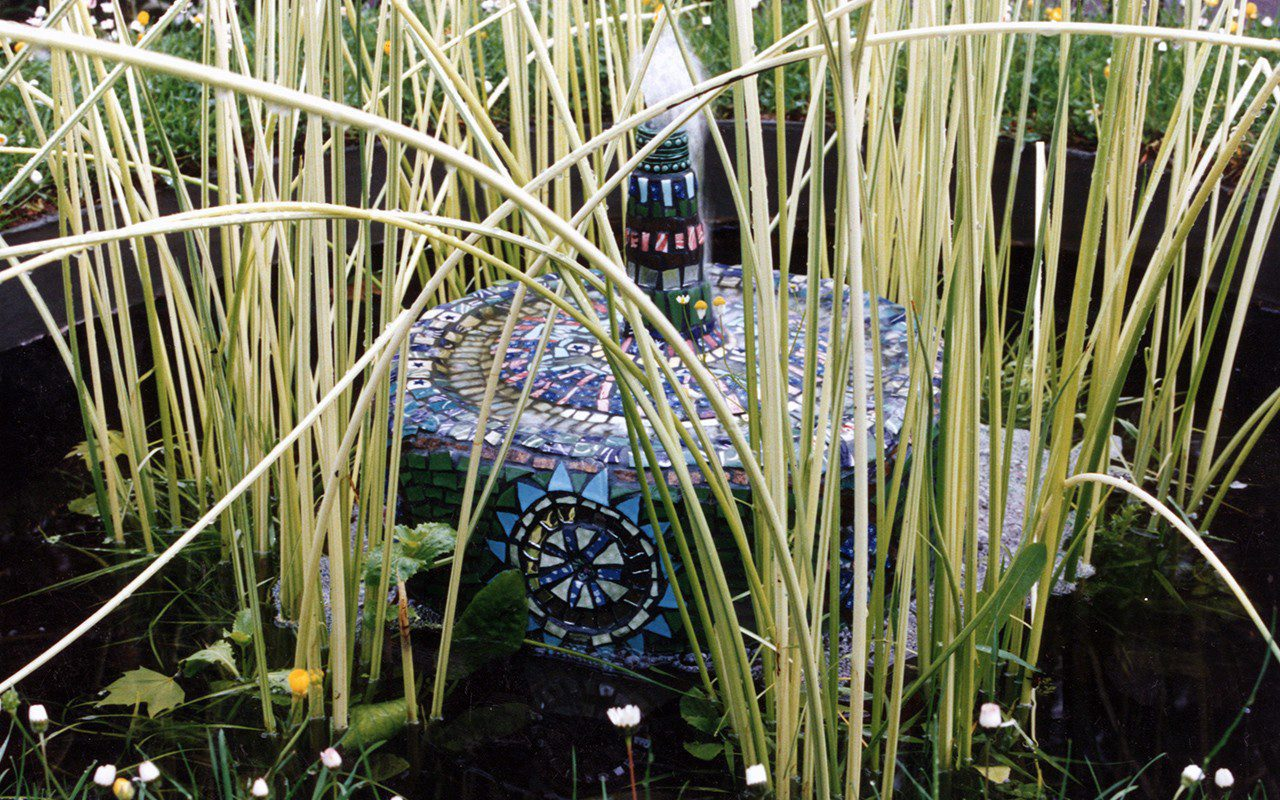 Cleo Mussi mosaic water feature for Dan Pearson Chelsea Flower Show garden 1993