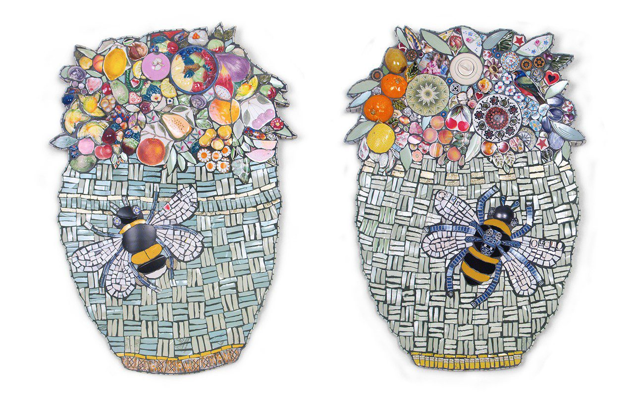 Large Collectors Baskets with Bees by Cleo Mussi