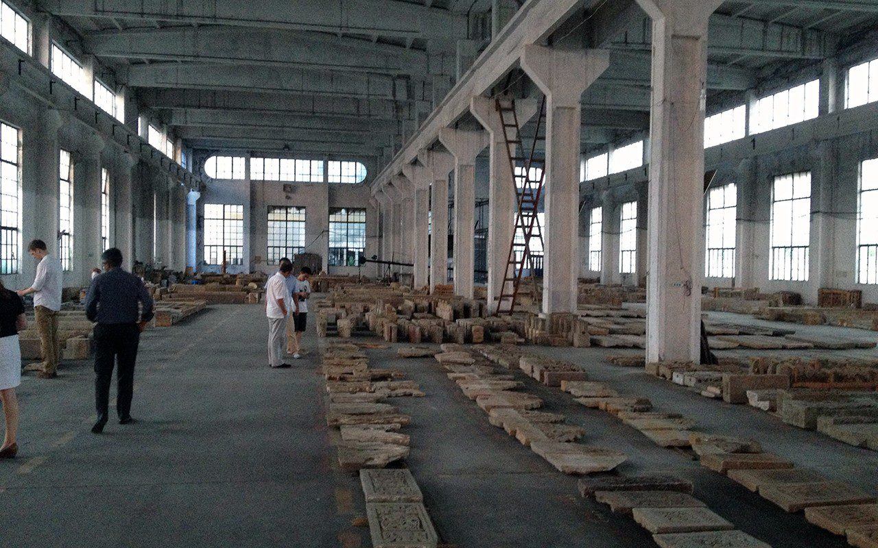 A warehouse containing disassembled Ming dynasty merchants' houses used in the Amanyangyun resort