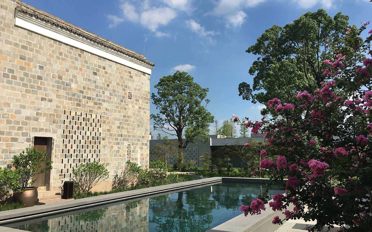 The rear garden of one of the antique villas at Amanyangyun Shanghai